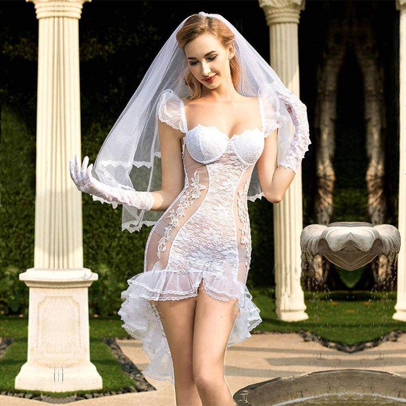 セクシーウェディングドレスのエロいコスプレ 14